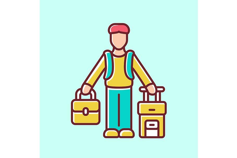 Immigrant man yellow color icon