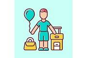 Immigrant child blue color icon