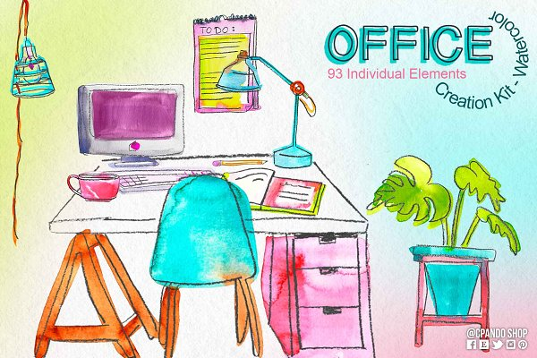 Office Creation kit watercolor