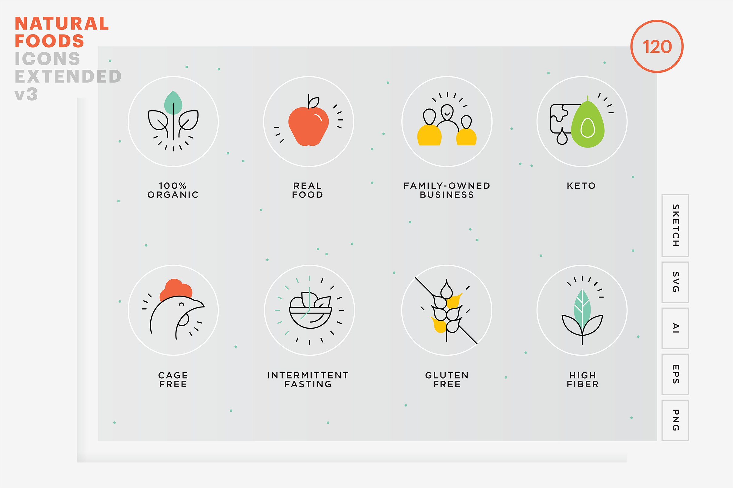 Food Value Icons Package Pre Designed Photoshop Graphics Creative Market