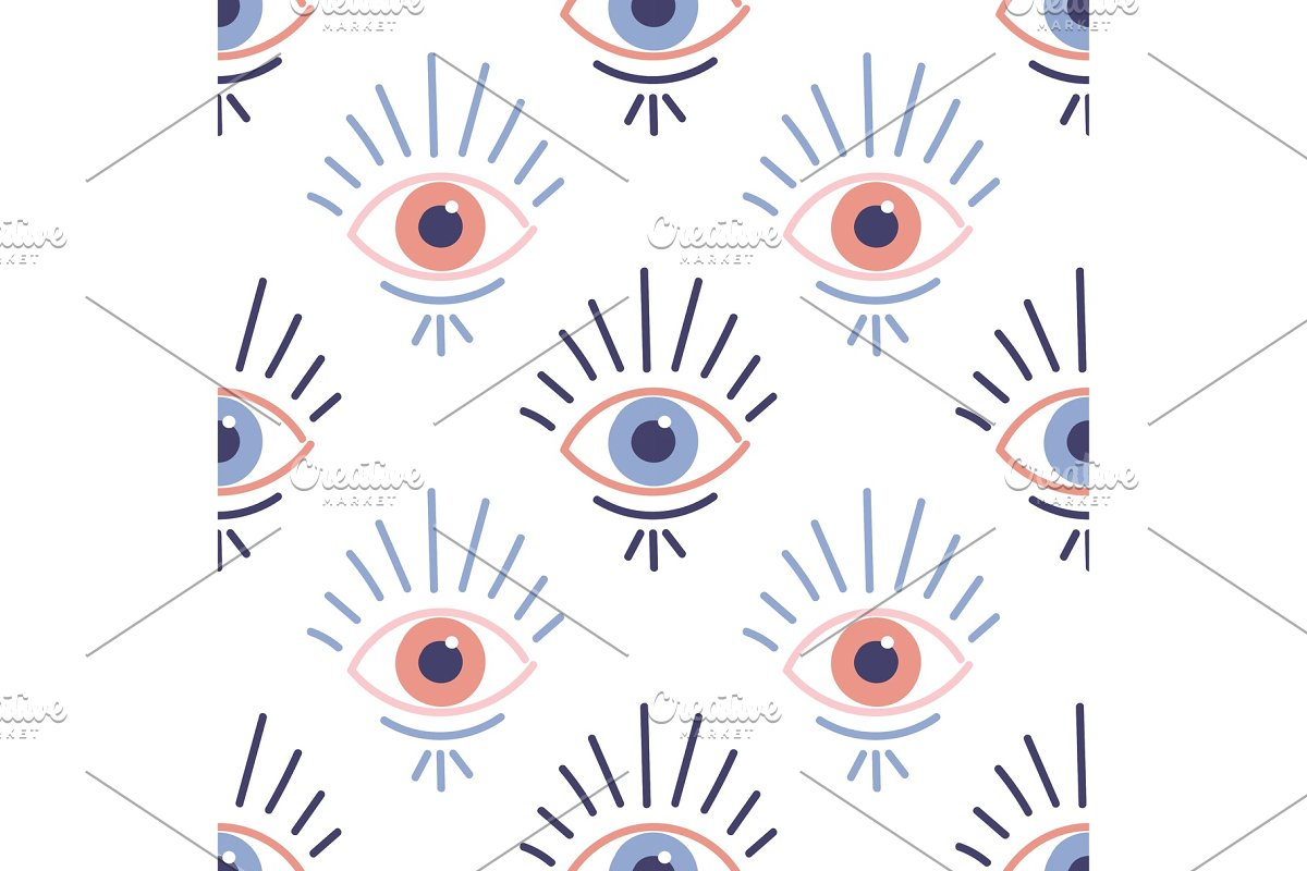 Seamless pattern with evil eyes in