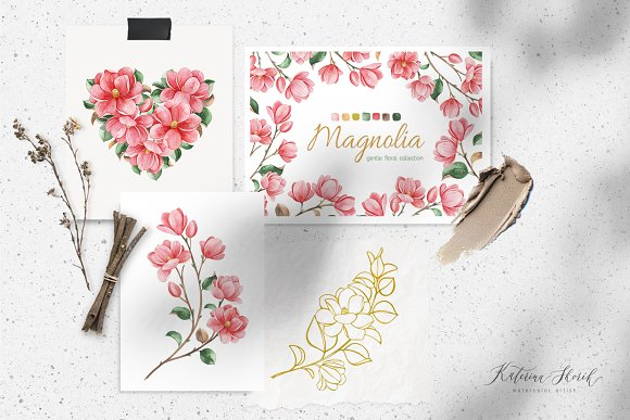 Magnolia.Gentle Floral Collection in Illustrations - product preview 1