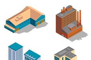 Isometric industrial building set
