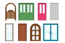 Set of front buildings doors