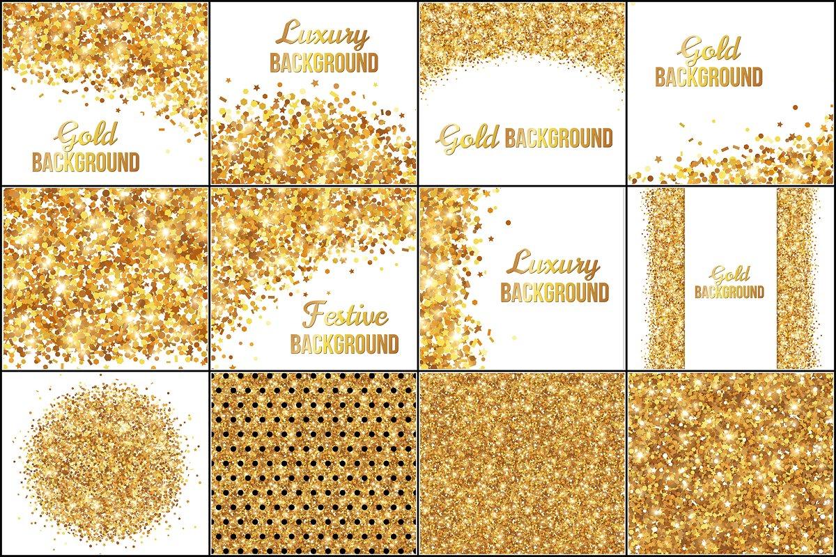 12 Gold Confetti Backgrounds