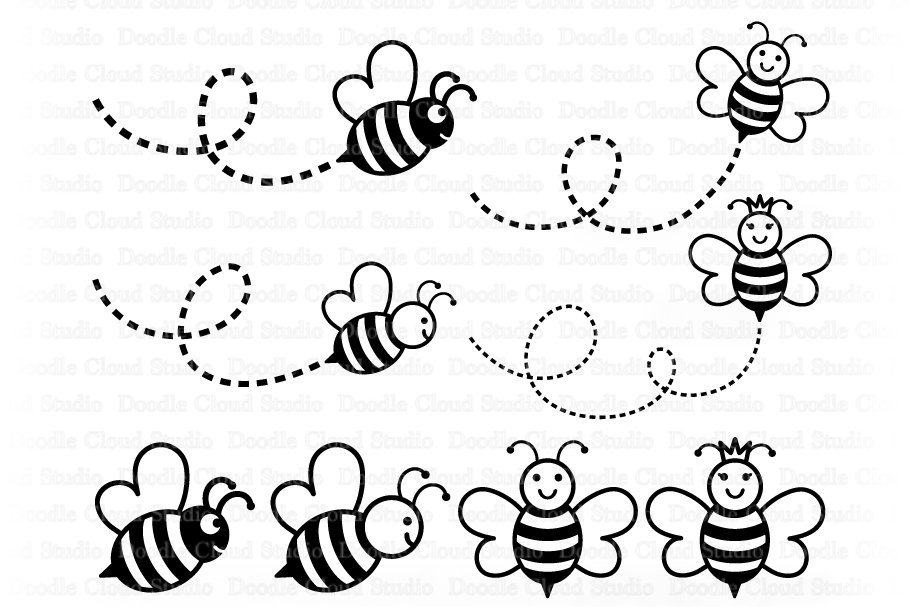 Cute Bee SVG, Cute Queen Bee SVG.