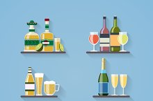 Booze or drinks flat icons on tray
