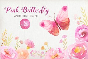 Pink Watercolor Floral Clipart
