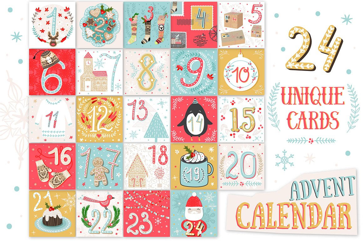 Typography Advent Calendar : Printable christmas advent calendar illustrations