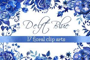 Blue Delft Flowers Clipart