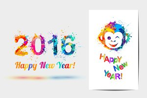 Happy New Year cards. Vector splash
