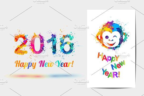 Happy New Year cards. Vector splash - Illustrations