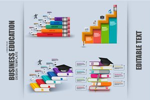 Set Business Education Infographic