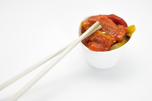 Roasted pepper salad and chopsticks