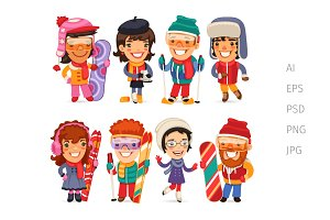 Cute Cartoon Skiers and Skaters