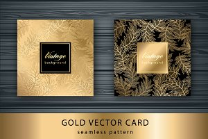 Set Gold card with seamless pattern