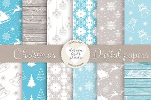Rustic blue christmas digital papers