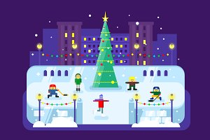 Skating rink Christmas tree
