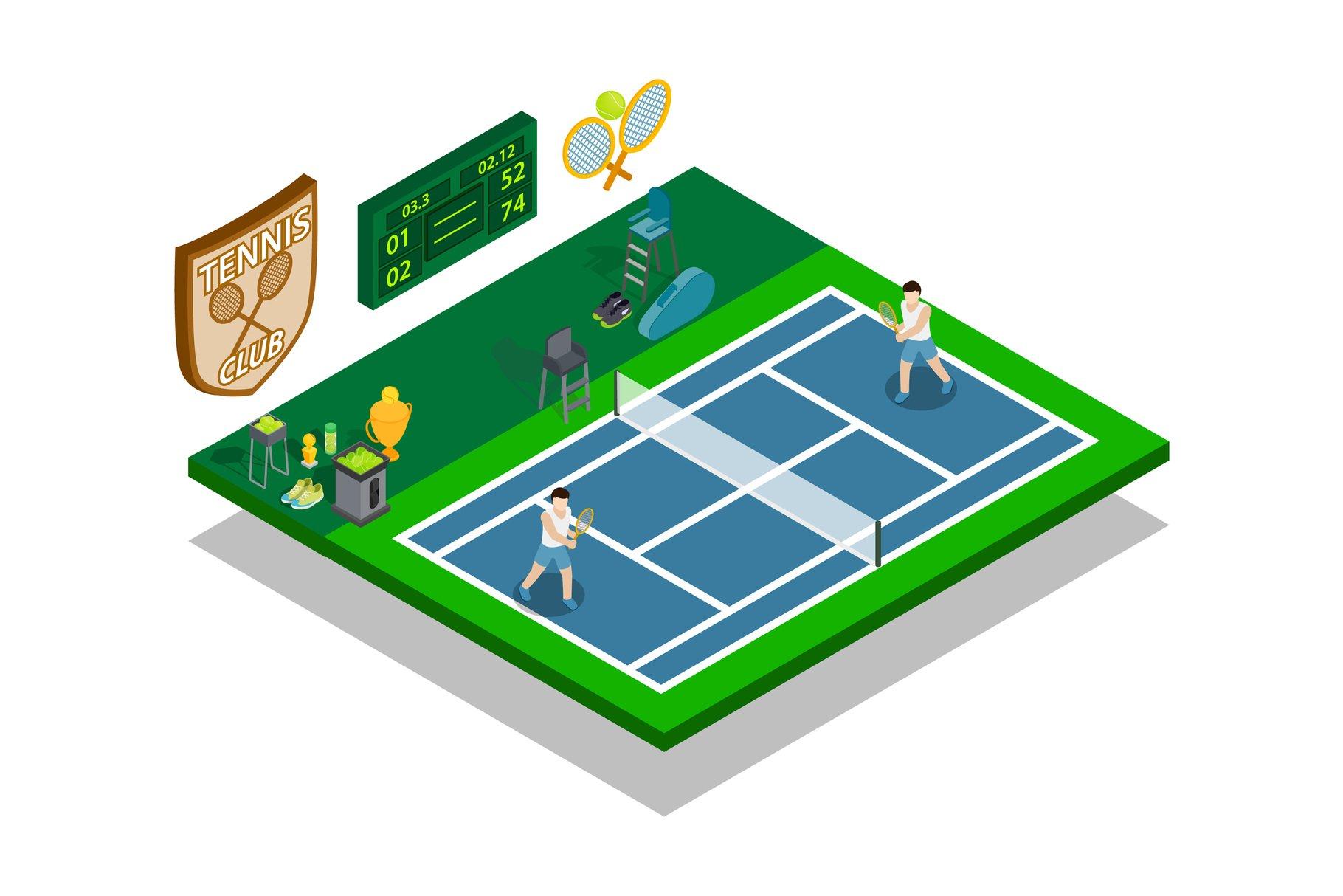 Tennis Concept Banner Pre Designed Illustrator Graphics Creative Market
