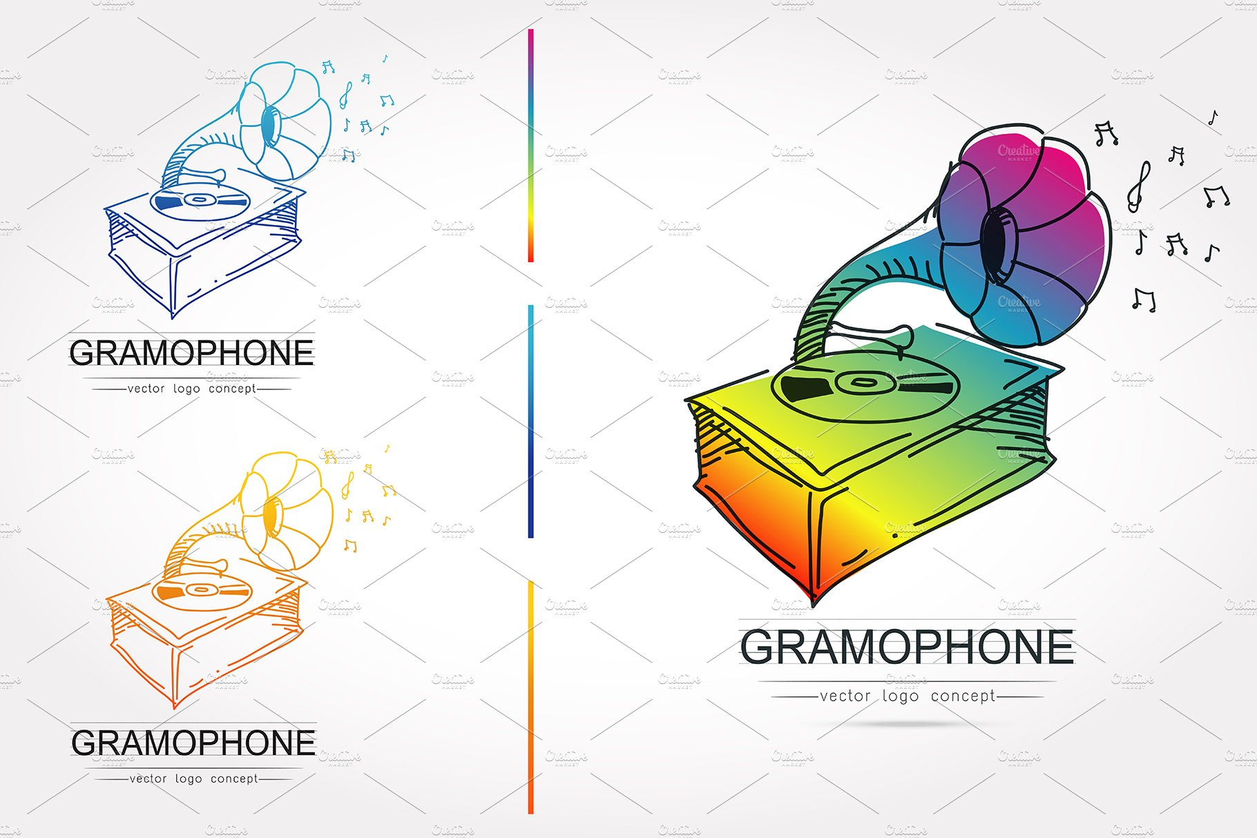 stylized of gramophone vector creative illustrator templates creative market creative market