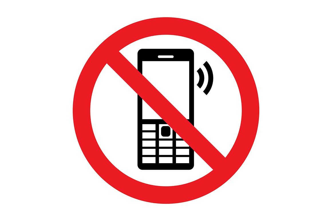No Cell Phone Vector Sign Illustrations Creative Market