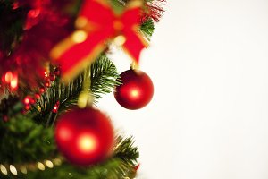 red baubles on a christmas tree