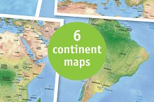 8 vector continent maps with relief