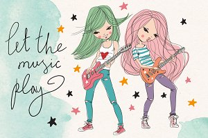 Star girls playing guitar.