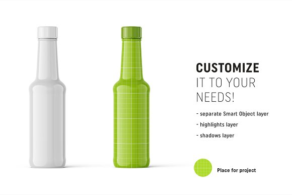 Glossy bottle mockup in Product Mockups - product preview 1