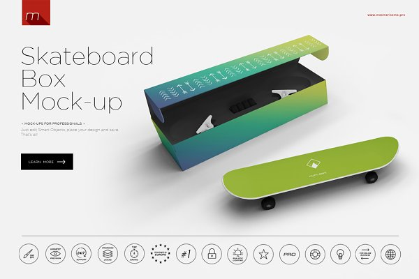 Skateboard with Box Mock-up