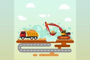 Excavator & Truck Illustration