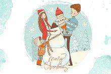 Snowman and happy family. Winter fun