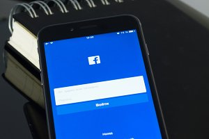 Iphone with facebook page