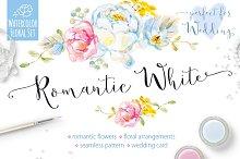 Romantic White Watercolor Vector Set