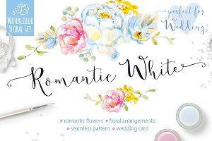 Romantic White Watercolor Vector Set