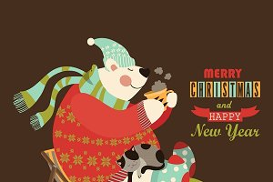 Cute bear celebrate Christmas