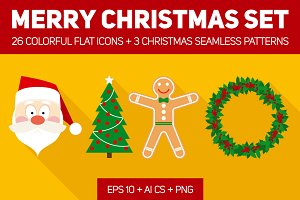 Merry Christmas Flat Set