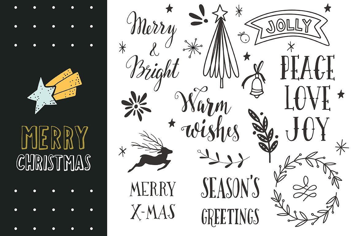 Merry Christmas | Hand-Lettering ~ Graphic Objects ~ Creative Market