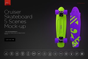 Cruiser Skateboard 5 Scenes Mock-up