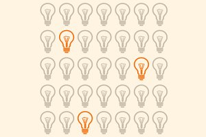 Light Bulb Seamless Pattern. Vector