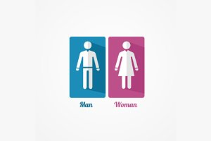 Man and Woman Flat Icon. Vector