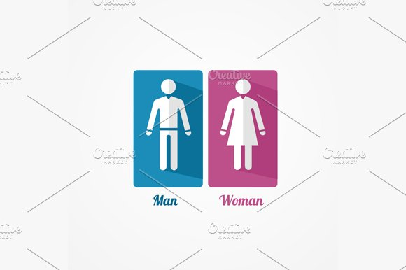 Man and Woman Flat Icon. Vector - Icons