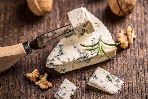 Slice of gorgonzola cheese