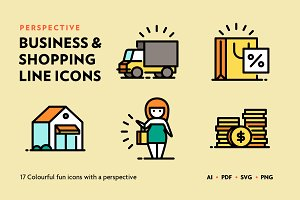 Business & Shopping Line Icons