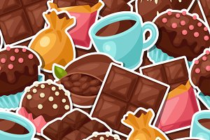 Chocolate seamless patterns.