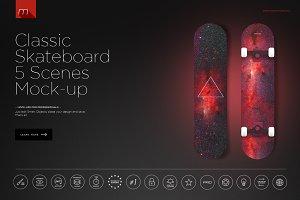 Skateboard 5 Scenes Mock-up