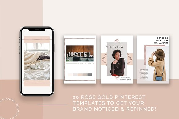 Rose Gold Social Media Bundle Canva in Instagram Templates - product preview 1