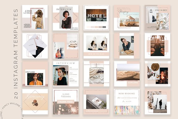 Rose Gold Social Media Bundle Canva in Instagram Templates - product preview 2