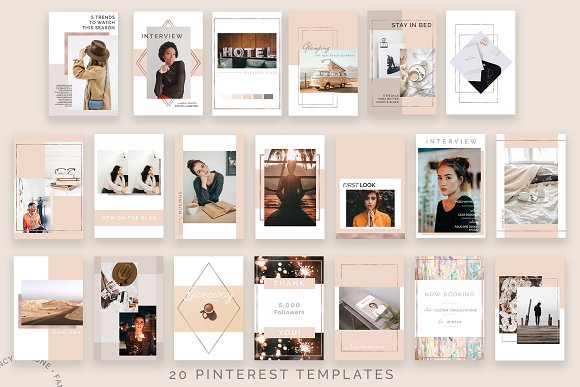 Rose Gold Social Media Bundle Canva in Instagram Templates - product preview 3