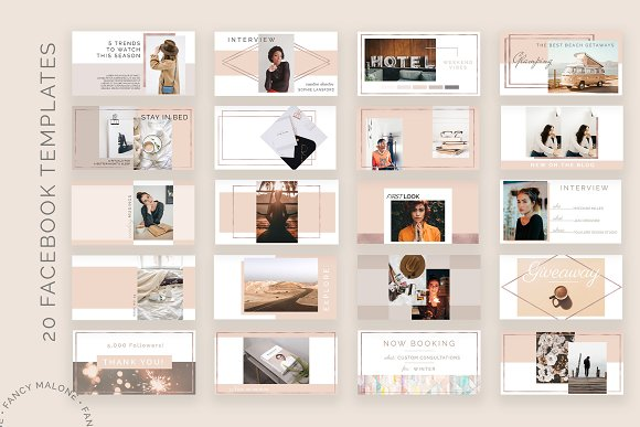 Rose Gold Social Media Bundle Canva in Instagram Templates - product preview 4